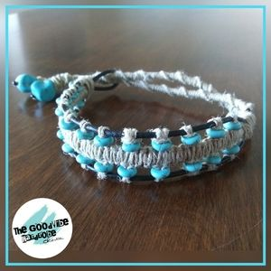"11.5"" Turquoise, Leather & Hemp Bracelet"